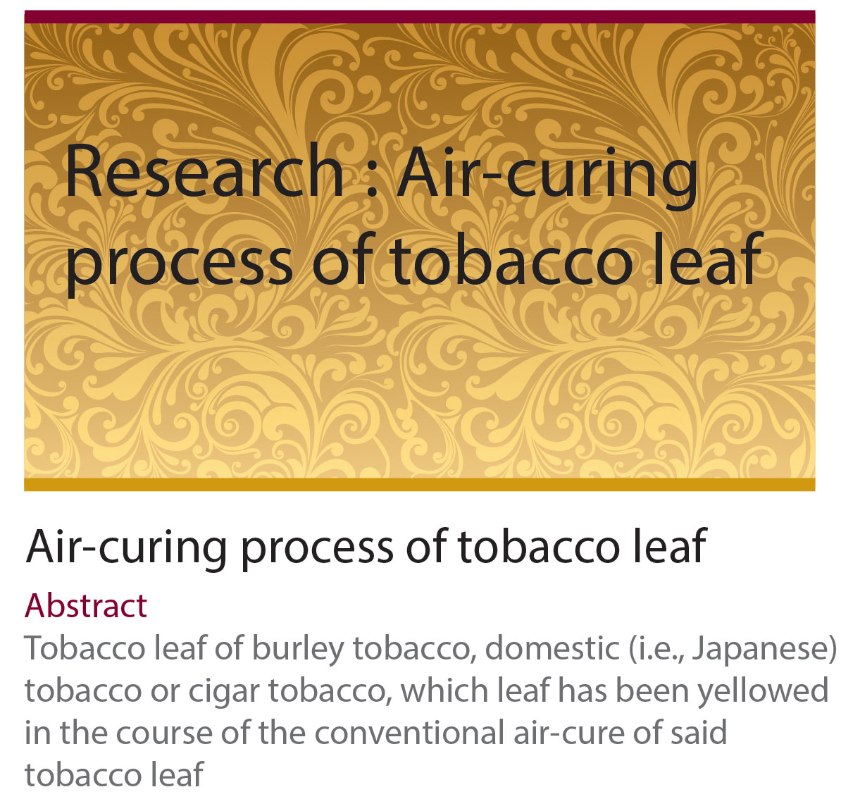 Research : Air-Curing process of tobacco leaf