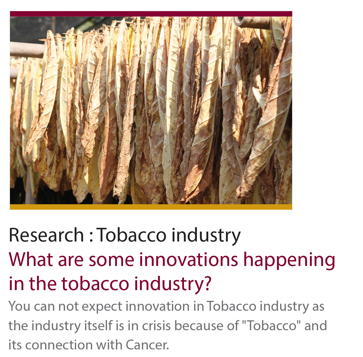 Research : Tobacco industry
