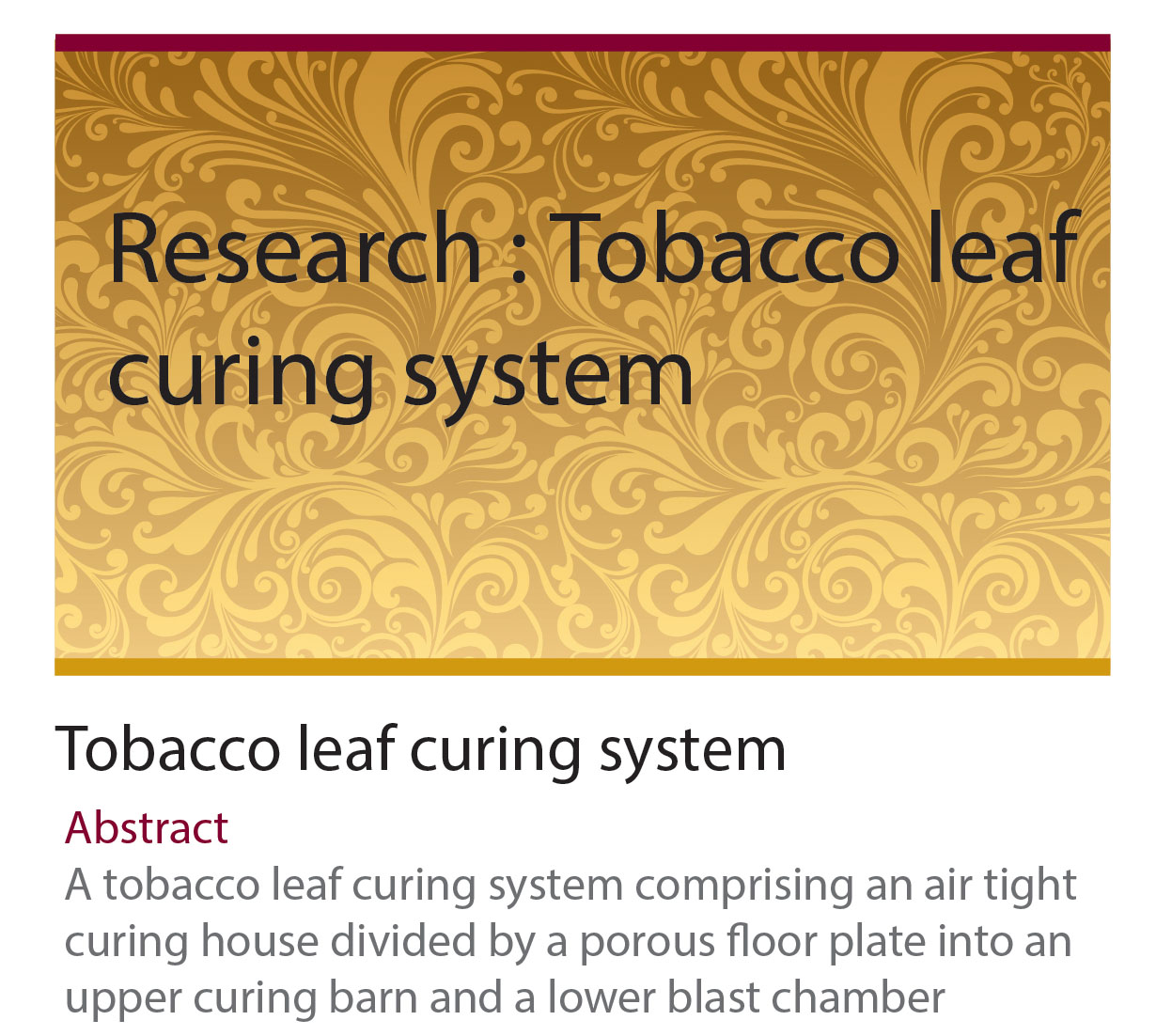 Research : Tobacco leaf curing system